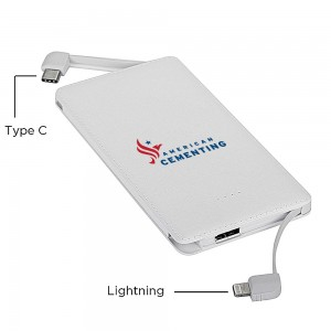 Slim PowerBank with Built-in cords - White